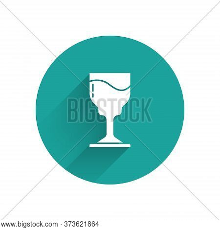 White Wine Glass Icon Isolated With Long Shadow. Wineglass Icon. Goblet Symbol. Glassware Sign. Happ