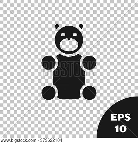 Black Jelly Bear Candy Icon Isolated On Transparent Background. Vector