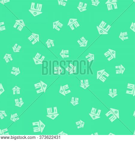 Green Church Building Icon Isolated Seamless Pattern On Green Background. Christian Church. Religion