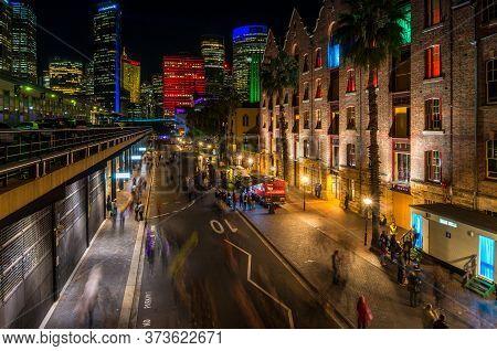 Sydney, Australia - May 27, 2016: Sydney Cbd Street Illuminated During Vivid Sydney Festival