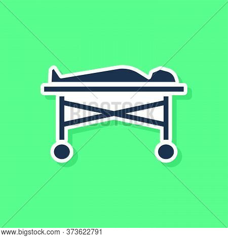 Blue Dead Body In The Morgue Icon Isolated On Green Background. Vector