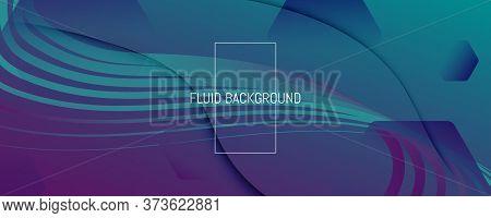 Graphic Fluid. Abstract Flow Shape Poster. Vivid Futuristic Texture. Memphis Minimal Template. Geome