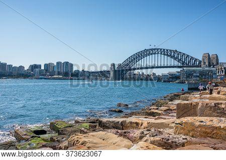 Sydney, Australia - July 23, 2017: Sydney Harbour Bridge And Barangaroo Reserve