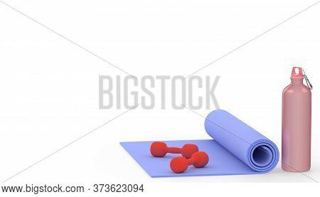 Yoga Mat With Dumbbells And Water Bottle. Yoga Banner Background. 3d Render Illustration Of Yoga Spo