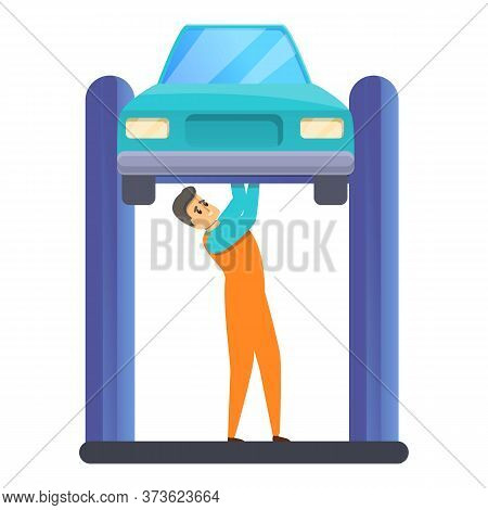Auto Mechanic Fix Car Icon. Cartoon Of Auto Mechanic Fix Car Vector Icon For Web Design Isolated On