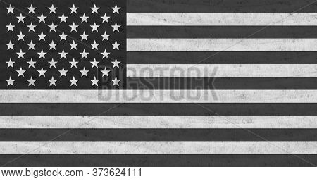 Black And White With Stars And Stripes Distressed American Flag With Textured Material Background 3d