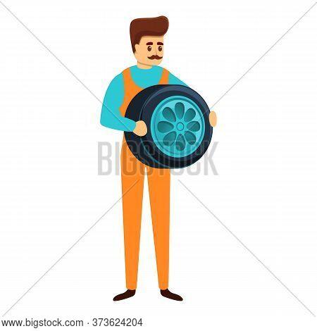 Auto Mechanic Take Car Wheel Icon. Cartoon Of Auto Mechanic Take Car Wheel Vector Icon For Web Desig