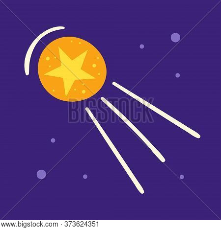 Yellow Star In Circle. Comet, Asteroid. Space Vector Flat Illustration, Element, Sticker, Icon, Shap