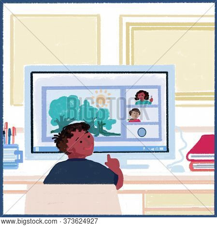 Kids Learning Activities Online, Distance Education. Students Adapting To Online Age. Using Digital