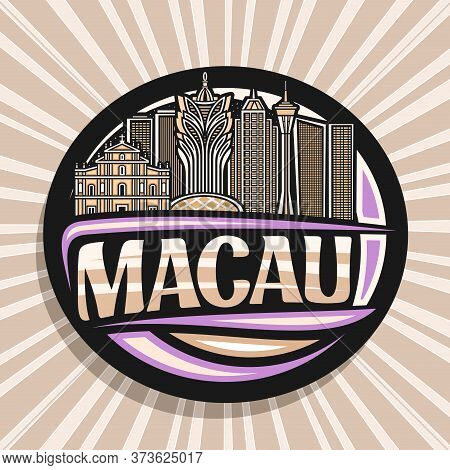 Vector Logo For Macau, Black Decorative Oval Badge With Line Illustration Of Famous Macau City Scape