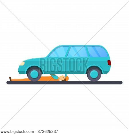 Mechanic Under Car Icon. Cartoon Of Mechanic Under Car Vector Icon For Web Design Isolated On White