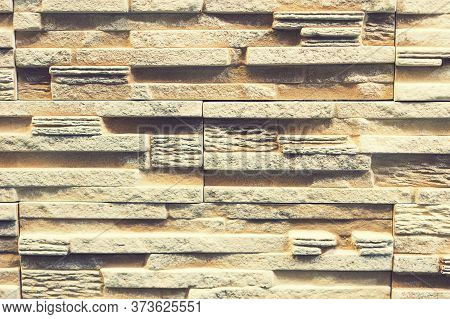 Stacked Stone Wall, Natural Stone Cladding. Stone Wall For Background, Slab Stone Wall Texture. Wall