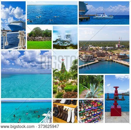The Collage About Cruise Activity At Port With Blue Caribbean Water At Cozumel At Mexico