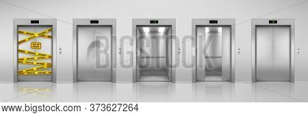 Elevators, Realistic Design With Closed, Open, Half Closed And Dent Broken Doors. Chrome Metal Offic