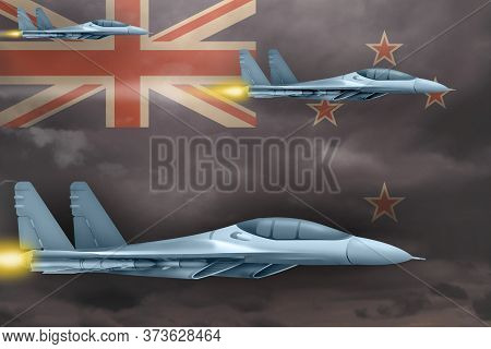 New Zealand Air Strike Concept. Modern War Airplanes Attack On New Zealand Flag Background. 3d Illus