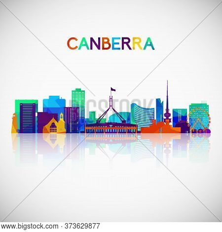 Canberra Skyline Silhouette In Colorful Geometric Style. Symbol For Your Design. Vector Illustration