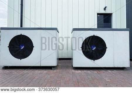 Group Of Air Conditioning. Refrigeration Temperature Conditioning System And Battery Set Climate Con
