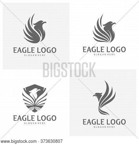 Set Of Eagle Logo Design Vector, Phoenix Logo Concept, Simple Eagle Logo Template, Icon Symbol, Crea