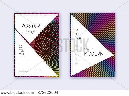 Stylish Cover Design Template Set. Rainbow Abstract Lines On Wine Red Background. Fantastic Cover De