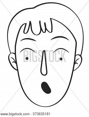 Outline Black And White Illustration Human Emotion Surprise, Emoji Of A Surprised Boy