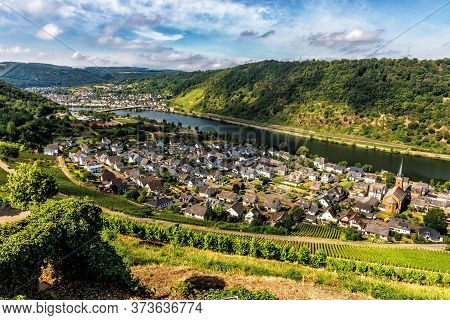 Moselle Valley Germany: View From Thurant Castle To The City Of Alken With Vineyards And Moselle Riv