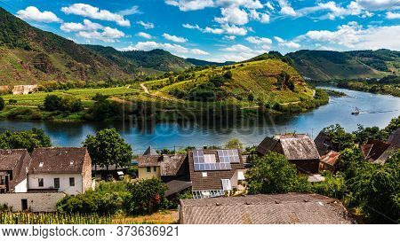 Moselle Valley Germany: View From Bremm Viewpoint On Moselle Loop With River Moselle In Summer, Germ
