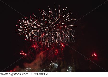 Pyrotechnic Composition In The Night Sky Gives A Special Cartoon And Artistic Expression To The Even