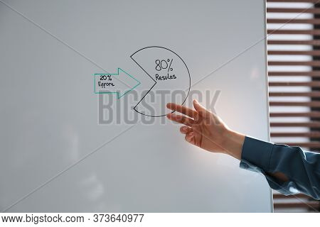 Woman Explaining 80/20 Rule In Office, Closeup. Pareto Principle Concept