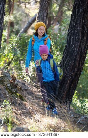 A Woman Walks With Her Son Through The Forest. The Boy With His Mother Go Hiking. A Child With A Bac