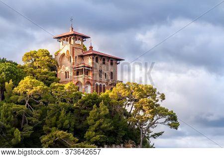 Portofino, Italy - September 29, 2010: View Of A Seaside Luxury Villa Surrounded By Vegetation. Port