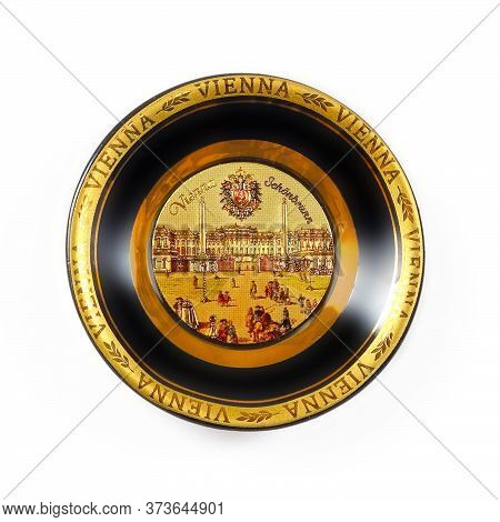 Magnetic Souvenir In The Form Of A Porcelain Plate From Vienna (austria) Isolated On White Backgroun