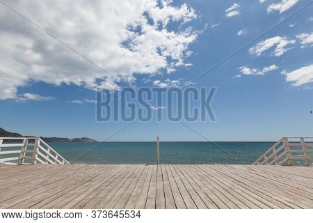 Sea Pier Natural Beach Background With Sky