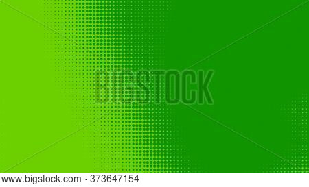 Dots Halftone Green Color Pattern Gradient Texture With Technology Digital Background. Dots Pop Art