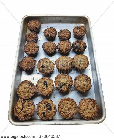 Homemade Freshly Baked Aussie Bites, Which Are A Like A Cross Between Muffins And Granola. Isolated
