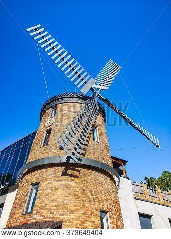 Zielona Gora Poland 8 June 2019 Spinning Windmill As Building Of Restaurant