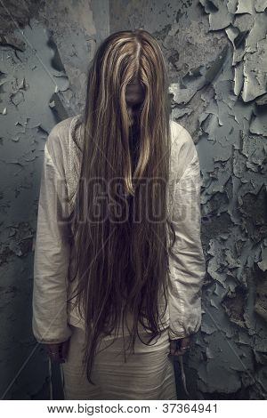 zombie girl with loong hair in an abandoned building poster