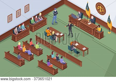 Courtroom Process In Court Vector Isometric Design, Law And Justice, Judge, Lawyer And Prosecutor At