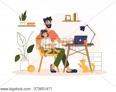 Father Work Home With Laptop, Freelance Online Office, Remote Internet Work, Vector Flat Illustratio