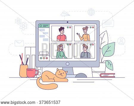 Video Conference, Online Home Office Business Call And Teamwork Communication, Vector Flat Design. V