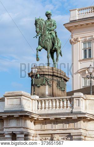 Equestrian Statue Of Archduke Albrecht In Front Of Albertina Museum, Vienna, Austria