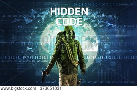 Faceless hacker at work with HIDDEN CODE inscription, Computer security concept