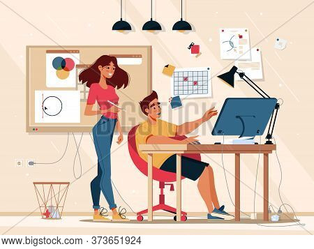 Workflow And Teamwork Communication In Office, Team Work Business Management, Vector Flat Illustrati