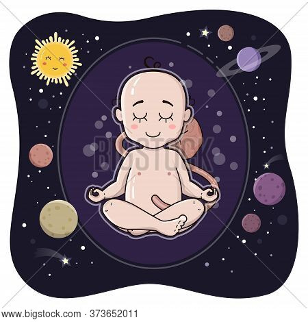 Cute Embryo In Its Inner Space. Fetus Before Birth. Newborn Baby Sit In Lotus Pose Vector Illustrati
