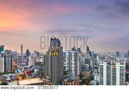 Bangkok, Thailand downtown cityscape from the Sukhumvit District at dusk.