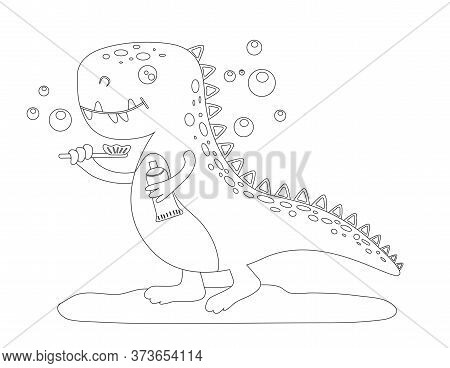 Silhouette Of A Cute Baby Dinosaur Who Brushes His Teeth. Linear Drawing Of A Dinosaur. Vector Isola