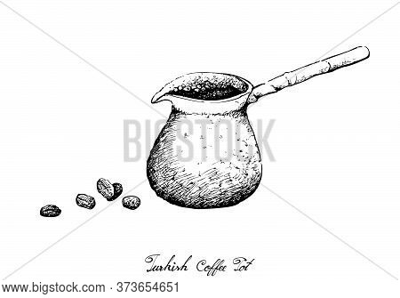Turkish Cuisine, Turkish Coffee With Cezve Or Coffee Pot. One Of The Popular Drink In Turkey.