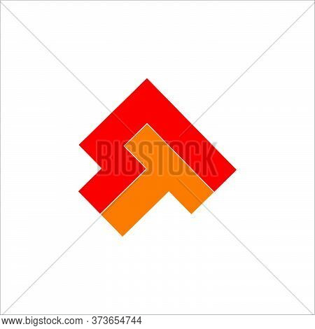 Letter T Square Arrow Up Geometric Colorful Design Logo Vector