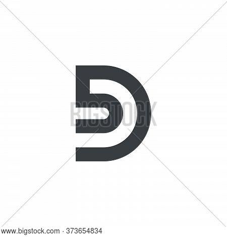 Letter Bd Simple Geometric Linear Logo Vector