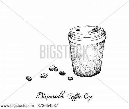 Coffee Time, Illustration Hand Drawn Sketch Of Takeaway Coffee In A Disposable Cup Isolated On White