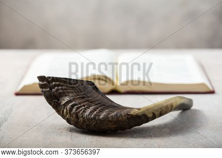 Rosh Hashanah (hashana) (jewish New Year Holiday) Concept With Ram Shofar (horn) With Religious Holy
